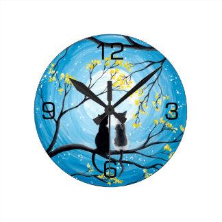 Horloge Ronde Lune lunatique avec des chats