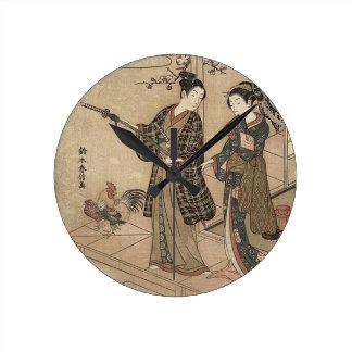Horloge Ronde Madame vintage japonaise Woman Maiko de geisha de