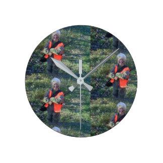 Horloge Ronde Mains grises d'image peu commune d'horloge, rond,