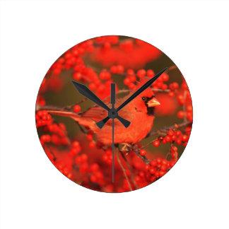 Horloge Ronde Mâle cardinal du nord rouge, IL
