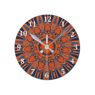 Horloge Ronde Mandala orange de bleu marine