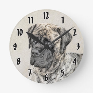 Horloge Ronde Mastiff anglais (Brindle)