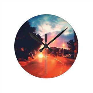 Horloge Ronde Matin orange