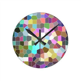 Horloge Ronde Mosaïque de fleur