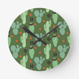 Horloge Ronde Motif abstrait de désert de cactus de hippie