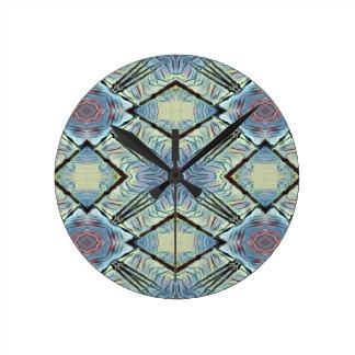 Horloge Ronde Motif bleu neutre de diamant de kaléidoscope de