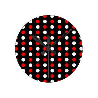 Horloge Ronde Motif de pois rouge et blanc