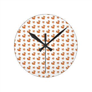 Horloge Ronde motif de renards rouges