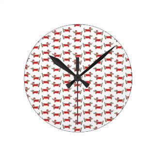 Horloge Ronde Motif de teckel de Noël