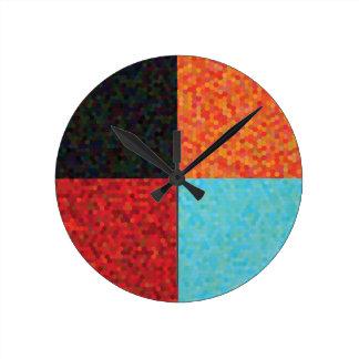 Horloge Ronde motif d'hexagone