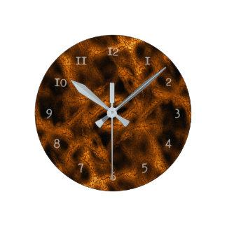 Horloge Ronde Motif d'imaginaire d'or