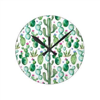 Horloge Ronde Motif d'usines de cactus d'aquarelle