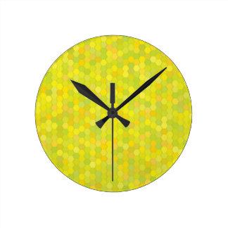 Horloge Ronde motif jaune