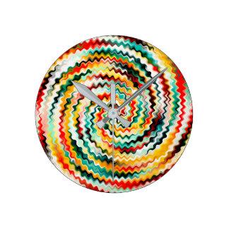 Horloge Ronde Motif multicolore coloré