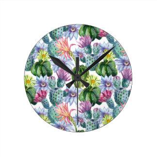 Horloge Ronde Motif peint à la main de cactus d'aquarelle