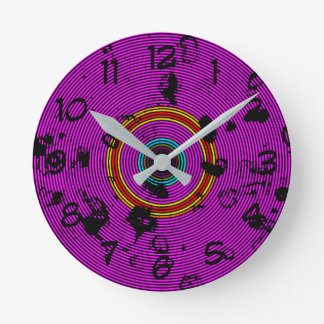 Horloge Ronde Motif pourpre de texture de disque de vinyle
