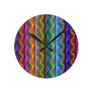 Horloge Ronde Motif psychédélique coloré lumineux