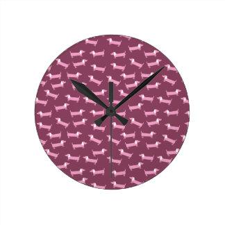 Horloge Ronde Motif rose de teckels