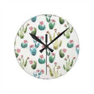 Horloge Ronde Motif rose d'étape   de fleur de désert