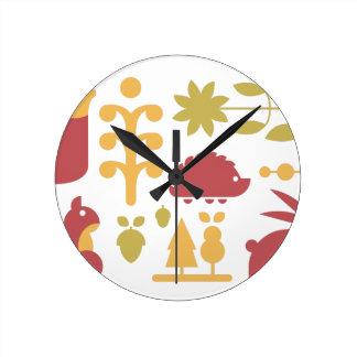 Horloge Ronde Motif sans couture d'automne avec la forêt