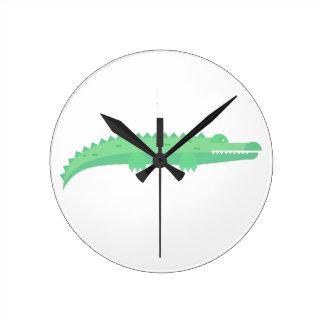 Horloge Ronde Motif sans couture de crocodiles drôles