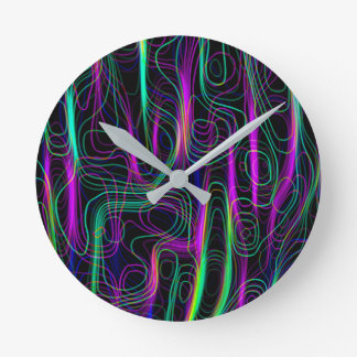 Horloge Ronde Motif sinueux multicolore au néon TRÈS FRAIS