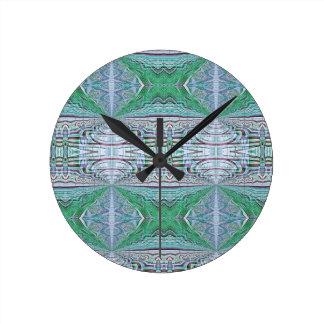 Horloge Ronde Motif tribal de kaléidoscope frais génial de vert