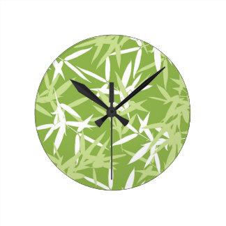 Horloge Ronde Motif unique de feuille en bambou vert