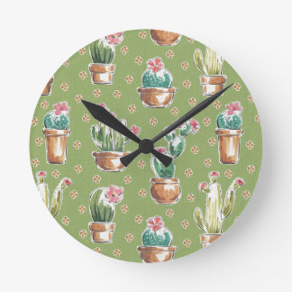 Horloge Ronde Motif vert d'étape   de fleur de désert