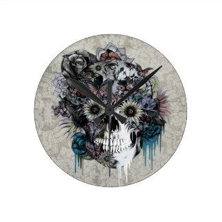 Horloge Ronde Muet, damassé de crâne de tournesol