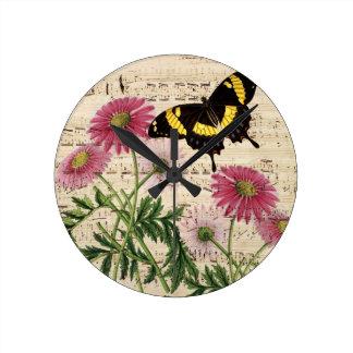 Horloge Ronde musique de papillon de marguerite
