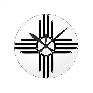 Horloge Ronde Natif américain Zia perlé