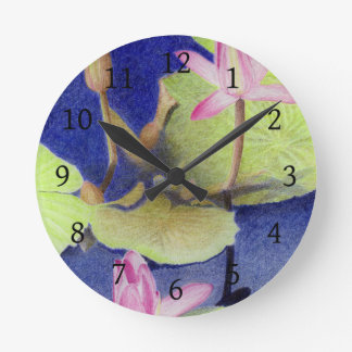 Horloge Ronde Nénuphar de Lotus