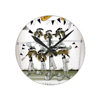 Horloge Ronde noir du football + défenseurs blancs de kit