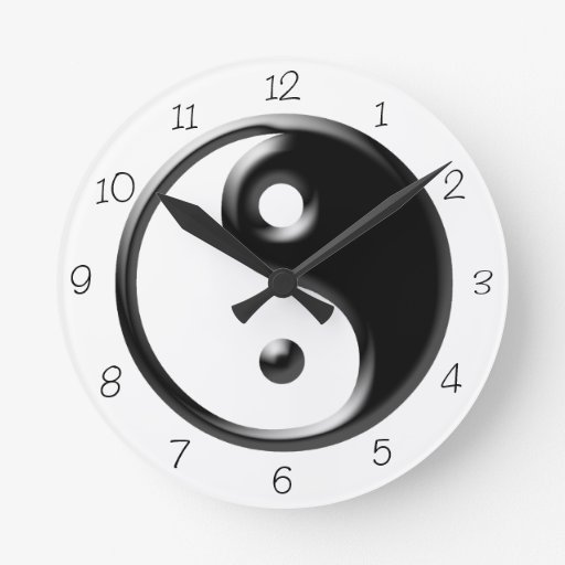 Horloge ronde noire de Yin Yang