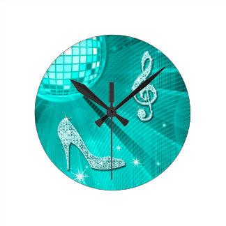 Horloge Ronde Note turquoise scintillante de musique et talon