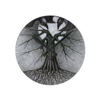 Horloge Ronde Nuit, arbre, lune et nous