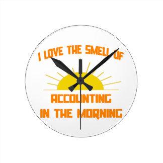 Horloge Ronde Odeur de la comptabilité pendant le matin