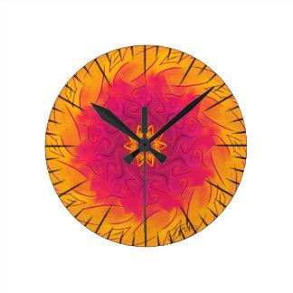 Horloge Ronde Oeillet personnalisable (spirograph psychédélique)