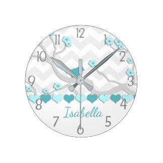 Horloge Ronde Oiseau gris d'Aqua turquoise sur l'horloge murale