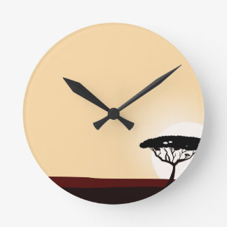 Horloge Ronde Or noir de coucher du soleil d'arbre
