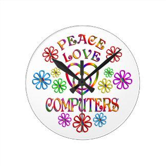 Horloge Ronde Ordinateurs d'amour de paix