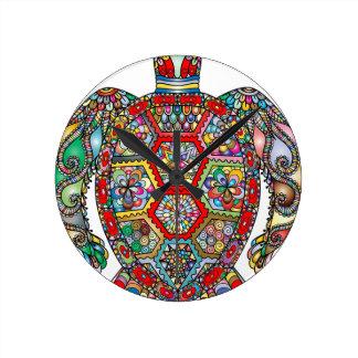 Horloge Ronde Ornamental décoratif de fleurs florales de tortue