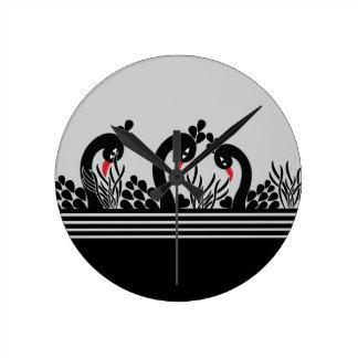 Horloge Ronde paon noir