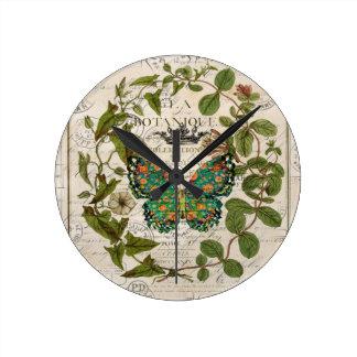 Horloge Ronde papillon français de feuille de manuscrit de pays