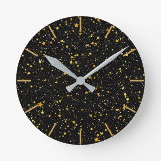 Horloge Ronde Parties scintillantes Stars3 - Noir d'or