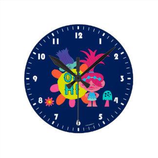 Horloge Ronde Pavot et branche des trolls   - oh salut là