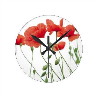 Horloge Ronde pavot-fleur