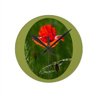Horloge Ronde Pavot rouge en été 02