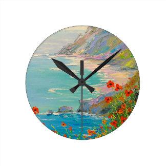 Horloge Ronde Pavots par la mer